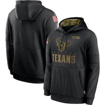Men's Nike Houston Texans Black 2020 Salute to Service Sideline Performance Pullover Hoodie -