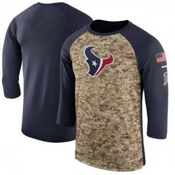 Men's Nike Houston Texans Camo /Navy Salute to Service 2017 Sideline Performance Three-Quarter Sleeve T-Shirt - Legend