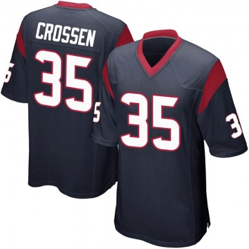 Men's Nike Houston Texans Keion Crossen Navy Blue Team Color Jersey - Game