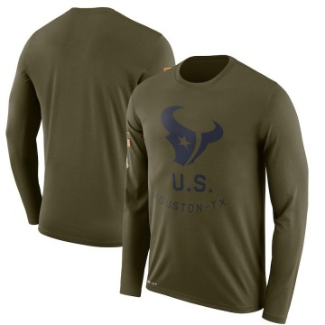 Men's Nike Houston Texans Olive 2018 Salute to Service Sideline Performance Long Sleeve T-Shirt - Legend