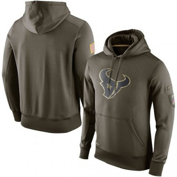 Men's Nike Houston Texans Olive Salute To Service KO Performance Hoodie -