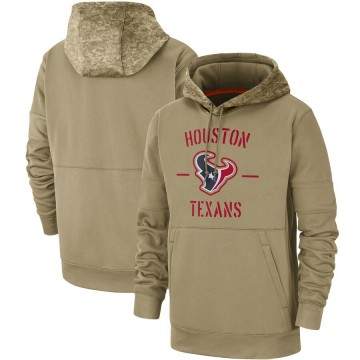 Men's Nike Houston Texans Tan 2019 Salute to Service Sideline Therma Pullover Hoodie -