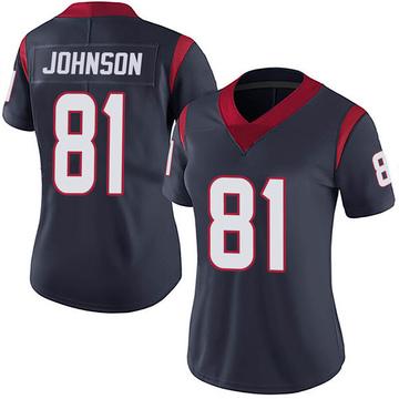 Women's Nike Houston Texans Andre Johnson Navy 100th Vapor Jersey - Limited