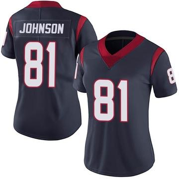 Women's Nike Houston Texans Andre Johnson Navy Blue Team Color Vapor Untouchable Jersey - Limited
