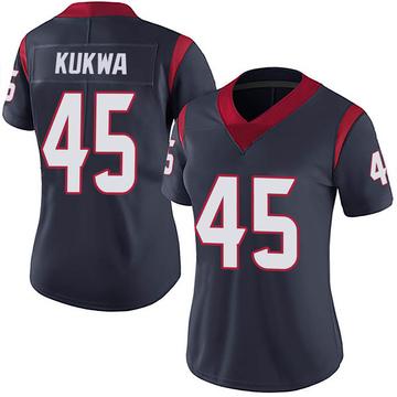 Women's Nike Houston Texans Anthony Kukwa Navy 100th Vapor Jersey - Limited