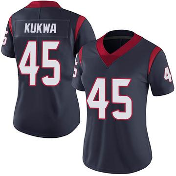 Women's Nike Houston Texans Anthony Kukwa Navy Blue Team Color Vapor Untouchable Jersey - Limited
