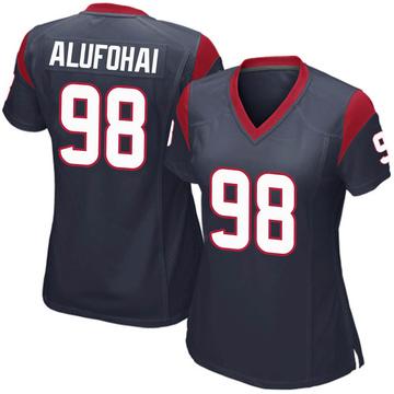 Women's Nike Houston Texans Auzoyah Alufohai Navy Blue Team Color Jersey - Game