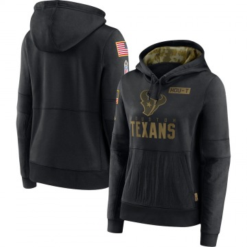Women's Nike Houston Texans Black 2020 Salute to Service Performance Pullover Hoodie -