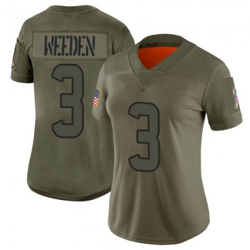 Women's Nike Houston Texans Brandon Weeden Camo 2019 Salute to Service Jersey - Limited