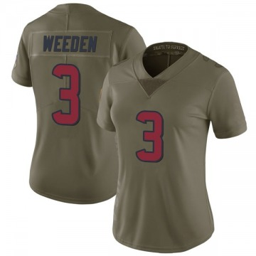 Women's Nike Houston Texans Brandon Weeden Green 2017 Salute to Service Jersey - Limited