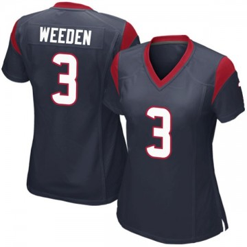 Women's Nike Houston Texans Brandon Weeden Navy Blue Team Color Jersey - Game