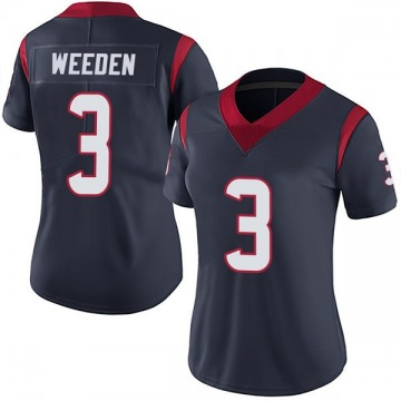 Women's Nike Houston Texans Brandon Weeden Navy Blue Team Color Vapor Untouchable Jersey - Limited