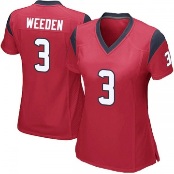 Women's Nike Houston Texans Brandon Weeden Red Alternate Jersey - Game