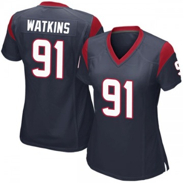 Women's Nike Houston Texans Carlos Watkins Navy Blue Team Color Jersey - Game