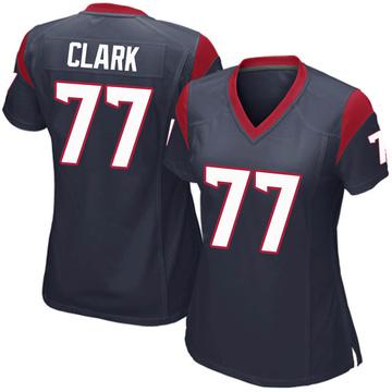 Women's Nike Houston Texans Chris Clark Navy Blue Team Color Jersey - Game