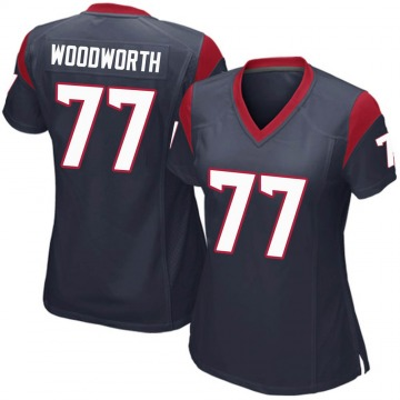 Women's Nike Houston Texans Elex Woodworth Navy Blue Team Color Jersey - Game