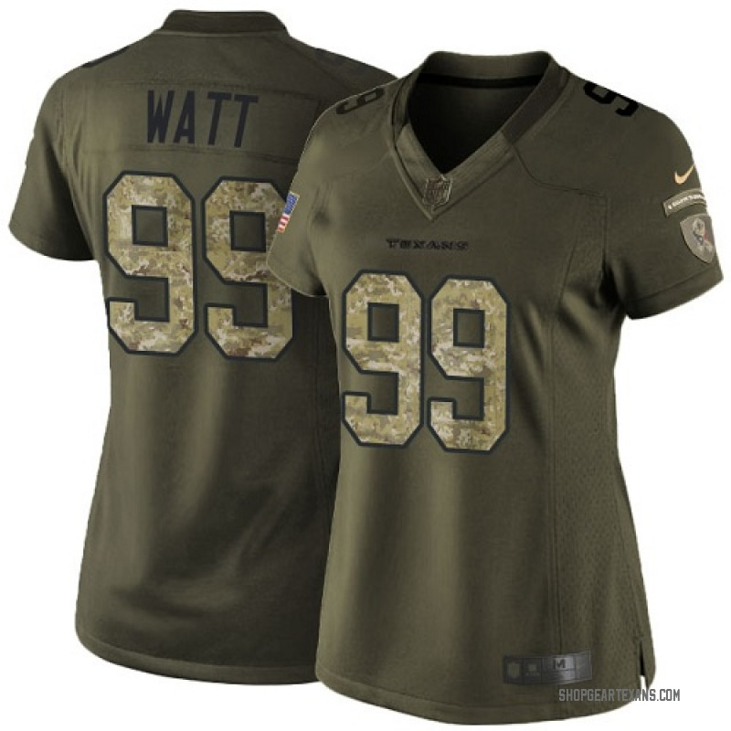 buy online 11194 dbde0 Women's Nike Houston Texans J.J. Watt Green Salute to Service Jersey -  Limited
