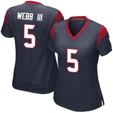 Women's Nike Houston Texans Joe Webb III Navy Blue Team Color Jersey - Game