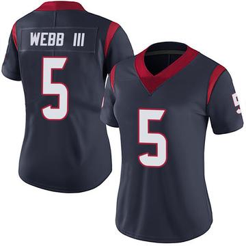 Women's Nike Houston Texans Joe Webb III Navy Blue Team Color Vapor Untouchable Jersey - Limited