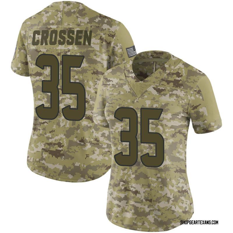 Women's Nike Houston Texans Keion Crossen Camo 2018 Salute to Service Jersey - Limited