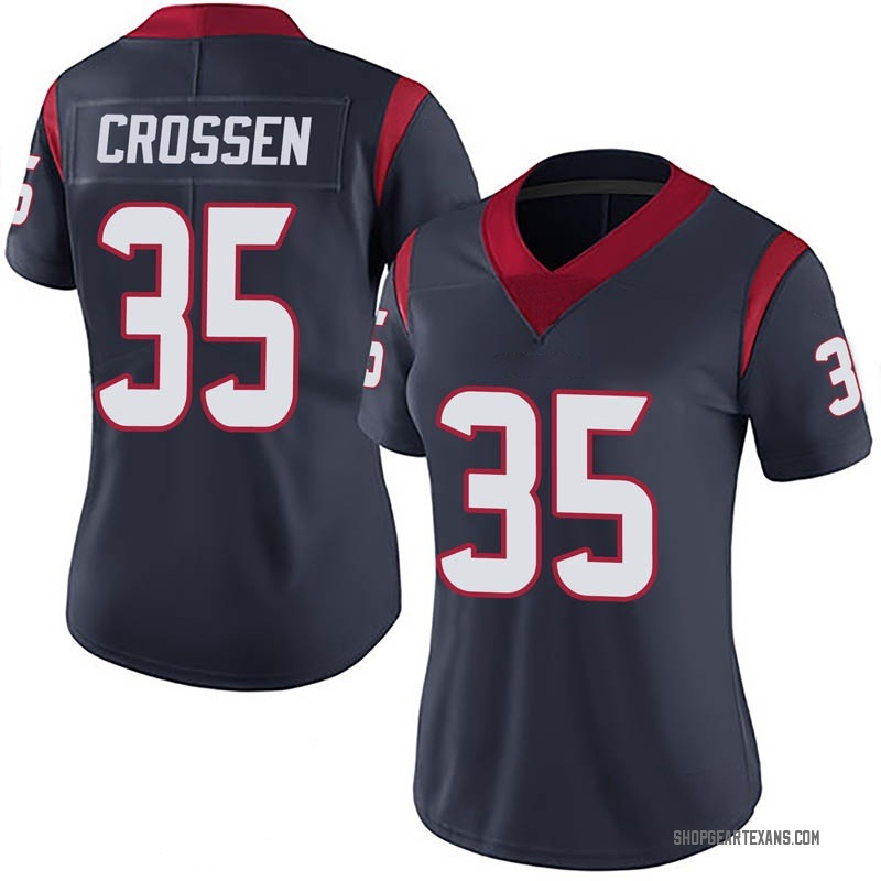Women's Nike Houston Texans Keion Crossen Navy 100th Vapor Jersey - Limited