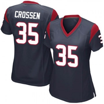 Women's Nike Houston Texans Keion Crossen Navy Blue Team Color Jersey - Game