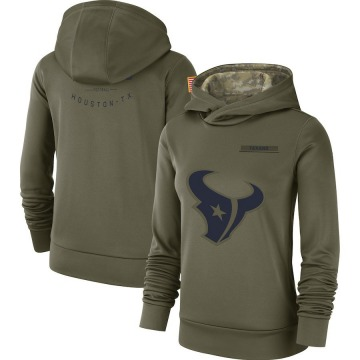 Women's Nike Houston Texans Olive 2018 Salute to Service Team Logo Performance Pullover Hoodie -