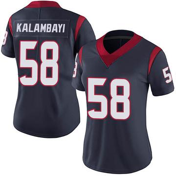 Women's Nike Houston Texans Peter Kalambayi Navy 100th Vapor Jersey - Limited