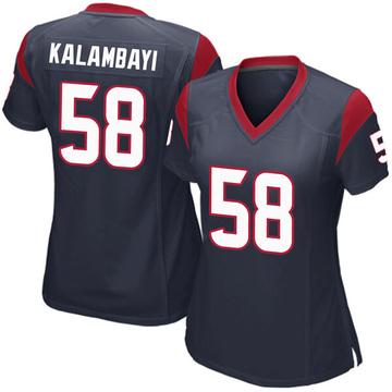 Women's Nike Houston Texans Peter Kalambayi Navy Blue Team Color Jersey - Game