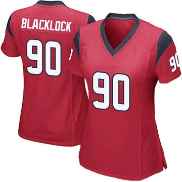 Women's Nike Houston Texans Ross Blacklock Black Red Alternate Jersey - Game