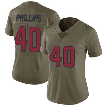 Women's Nike Houston Texans Scottie Phillips Green 2017 Salute to Service Jersey - Limited