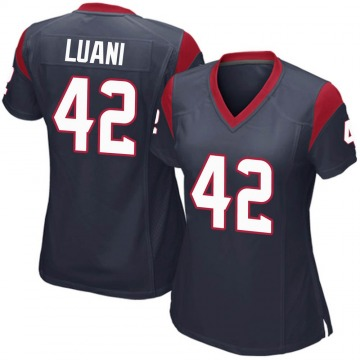 Women's Nike Houston Texans Shalom Luani Navy Blue Team Color Jersey - Game