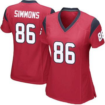 Women's Nike Houston Texans Tyler Simmons Red Alternate Jersey - Game