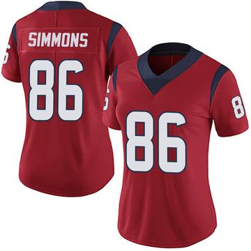 Women's Nike Houston Texans Tyler Simmons Red Alternate Vapor Untouchable Jersey - Limited