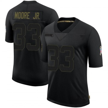 Youth Nike Houston Texans A.J. Moore Black 2020 Salute To Service Jersey - Limited