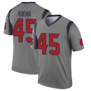 Youth Nike Houston Texans Anthony Kukwa Gray Inverted Jersey - Legend