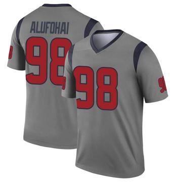 Youth Nike Houston Texans Auzoyah Alufohai Gray Inverted Jersey - Legend