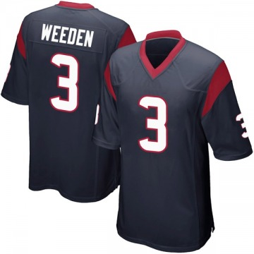 Youth Nike Houston Texans Brandon Weeden Navy Blue Team Color Jersey - Game