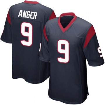 Youth Nike Houston Texans Bryan Anger Navy Blue Team Color Jersey - Game