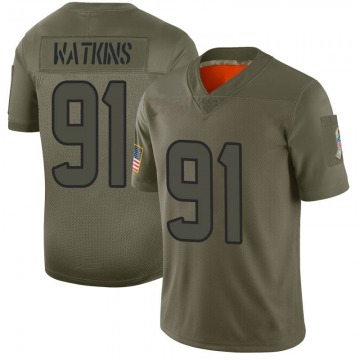 Youth Nike Houston Texans Carlos Watkins Camo 2019 Salute to Service Jersey - Limited