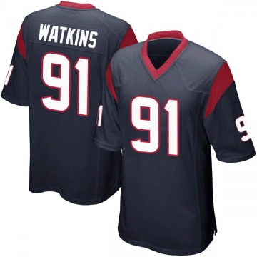 Youth Nike Houston Texans Carlos Watkins Navy Blue Team Color Jersey - Game
