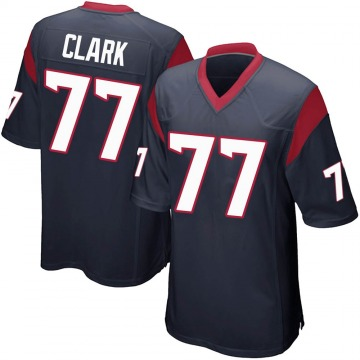 Youth Nike Houston Texans Chris Clark Navy Blue Team Color Jersey - Game