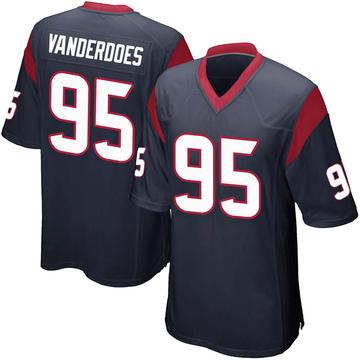 Youth Nike Houston Texans Eddie Vanderdoes Navy Blue Team Color Jersey - Game