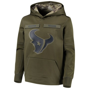 Youth Nike Houston Texans Green 2018 Salute to Service Pullover Performance Hoodie -