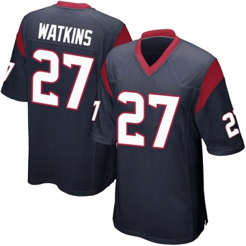 Youth Nike Houston Texans Jaylen Watkins Navy Blue Team Color Jersey - Game