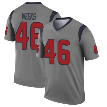 Youth Nike Houston Texans Jon Weeks Gray Inverted Jersey - Legend