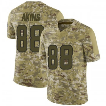 Youth Nike Houston Texans Jordan Akins Camo 2018 Salute to Service Jersey - Limited