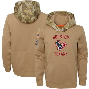 Youth Nike Houston Texans Khaki 2019 Salute to Service Therma Pullover Hoodie -
