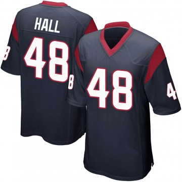Youth Nike Houston Texans Nate Hall Navy Blue Team Color Jersey - Game