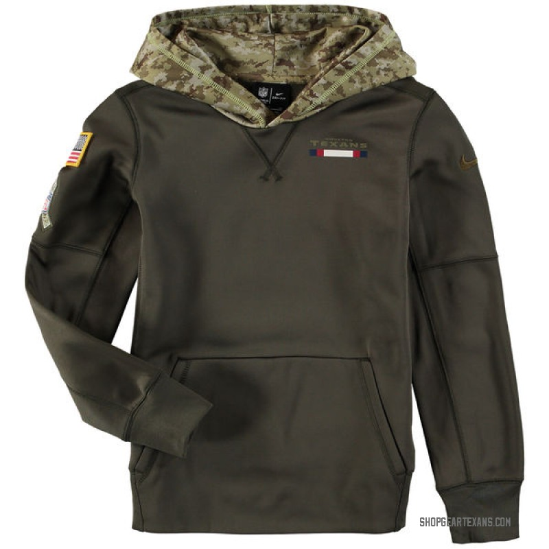 uk availability a5547 b4e0c Youth Nike Houston Texans Olive Salute to Service Pullover Hoodie -